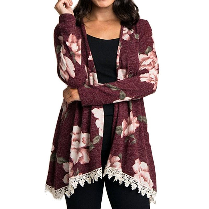 style top de gros chaussures classiques lace cardigan women 2018 new arrival floral print kimono tops casual open  stitch cardigans sweater shirts jumper pull femme