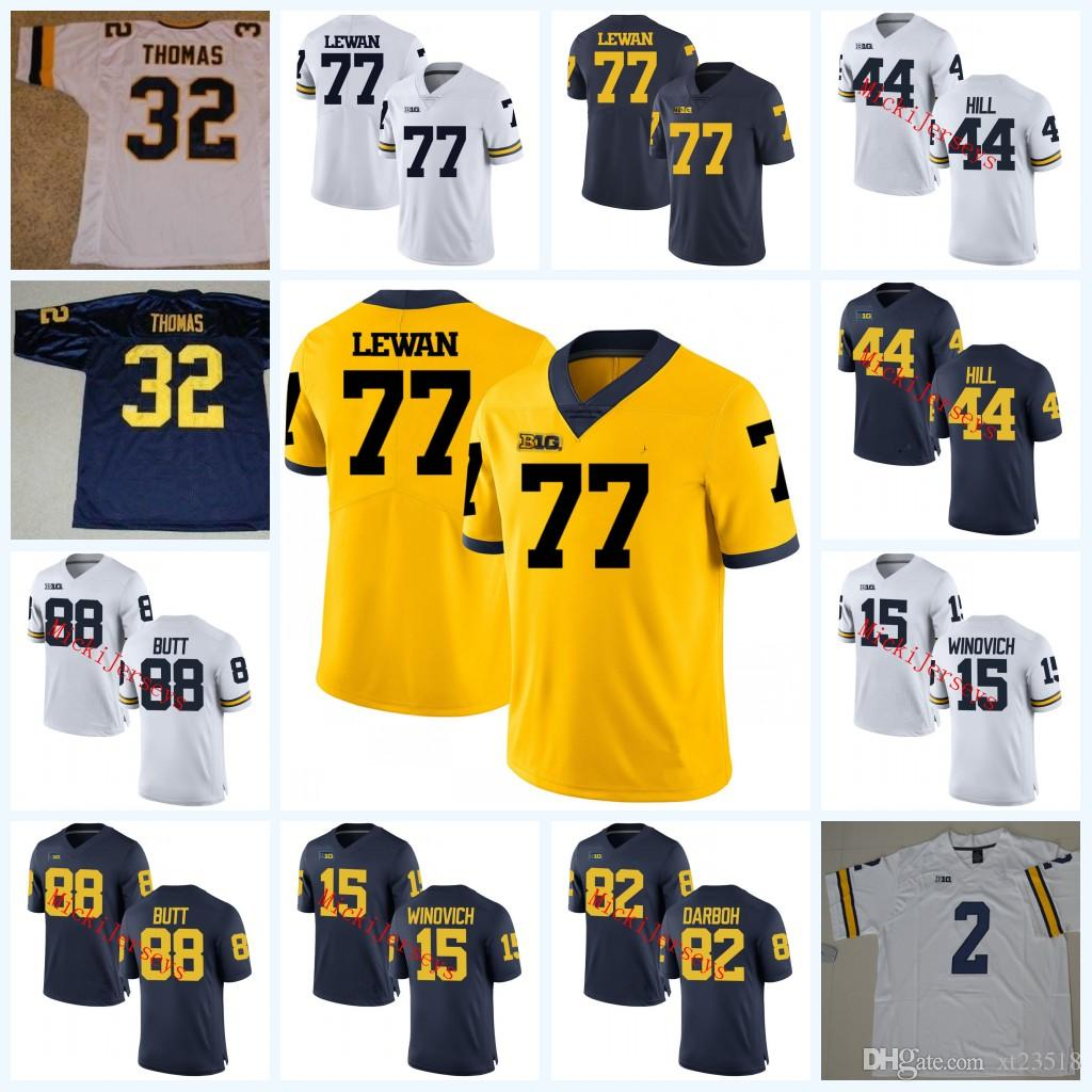 new style 1d1e9 77d53 NCAA Michigan Wolverines Shea Patterson College Camisas De Futebol Henry  Poggi Garrett Moores Patrick Kugler
