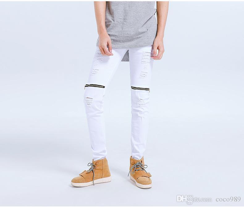 162d7119f6fc Kanye west zerrissene jeans männer hallo-strasse löcher reißverschlüsse  design lange hosen männlich bike jeans bleistift hose mode neue stil