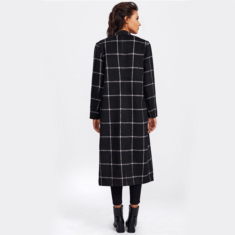 Sheinside драпировка воротник сетки плед ярус пальто дамы отложным воротником с длинным рукавом повседневная внешний женщины элегантный осень пальто