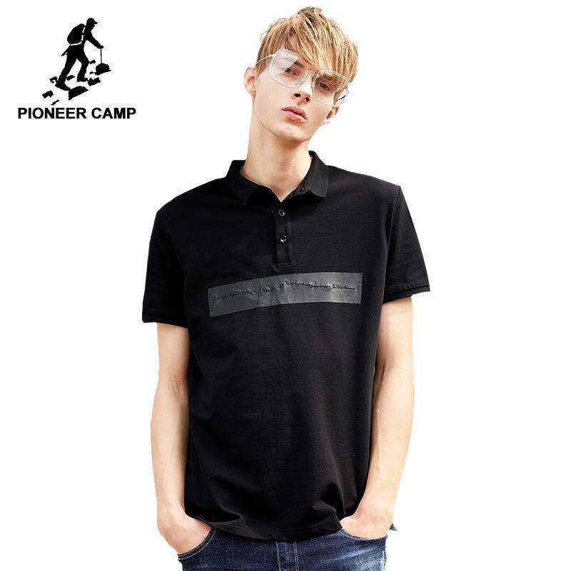 83a41fa4de8 Купить Оптом 20187 Pioneer Camp Новый Дизайн Летних Поло Мужчин Бренд Одежда  Fasion Черный Рубашка Поло Мужская Верхняя Одежда Высокого Качества  Adp801080 ...
