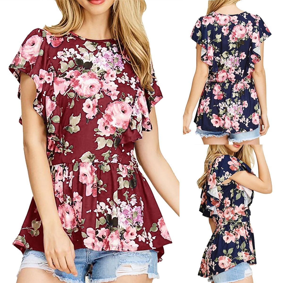 a9b3323f6d025 2018 Summer Women Casual Floral Print Lycra Tee Shirt Ruffle Short Sleeve  T-shirt Beach Holiday Blouse Loose Peplum Tops