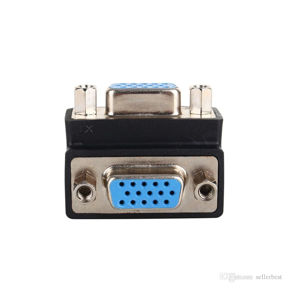 Adattatore da 90 gradi VGA SVGA da femmina a femmina da 15 pin VGA Adattatore adattatore prolunga connettore del cavo