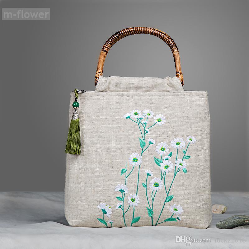 0b7d470d6e6 Original Embroidery Daisy Fresh Rural Style Retro Tote Linen Rattan Handbag  Women I Pad Bag Festival Beach Casual Shopping Bag