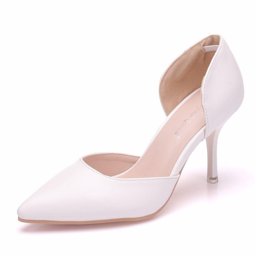 e844656ab31ca2 Großhandel High Heels Damen Pumps Spitz Leder Weiß Hochzeitsschuhe Slip On  Stiletto Heels 7