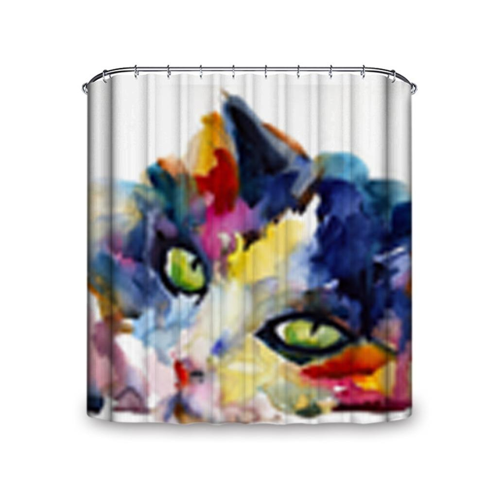 Mysterious Vision Cute Cat Various Size And Hooks Shower Curtain Unique Machine Washable Single Side Printing Waterproof Fabric Hook