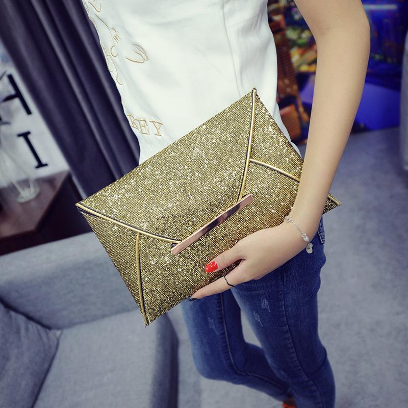 45d2bf2b0d1 2018 Fashion Women's Envelope Clutch Bag Purse for Party Brand High Quality  for Trend Gold Black Handbag Large Ladies Clutches