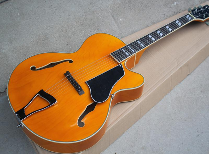 Orange Maple Body L5 Semi Hollow Electric Guitar With White Binding