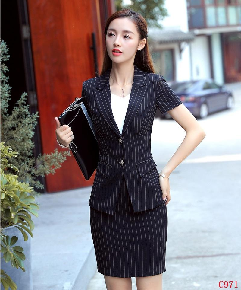 71d3cd14089e 2019 Summer Formal Black Striped Blazer Women Suits With Skirt And Jacket  Sets Ladies Work Wear Office Uniform Designs OL Styles From Keviny