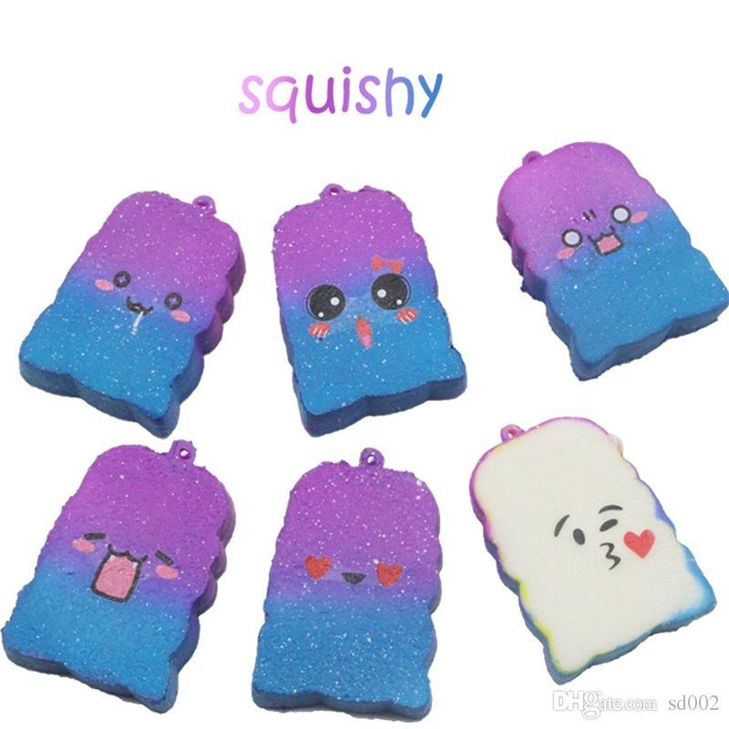 Starry Sky Bread Squishy Squeeze Juguete Lindo Amor Forma Squishies Teléfono Correas Encanto Colgante Descompresión Juguetes 3 99js C