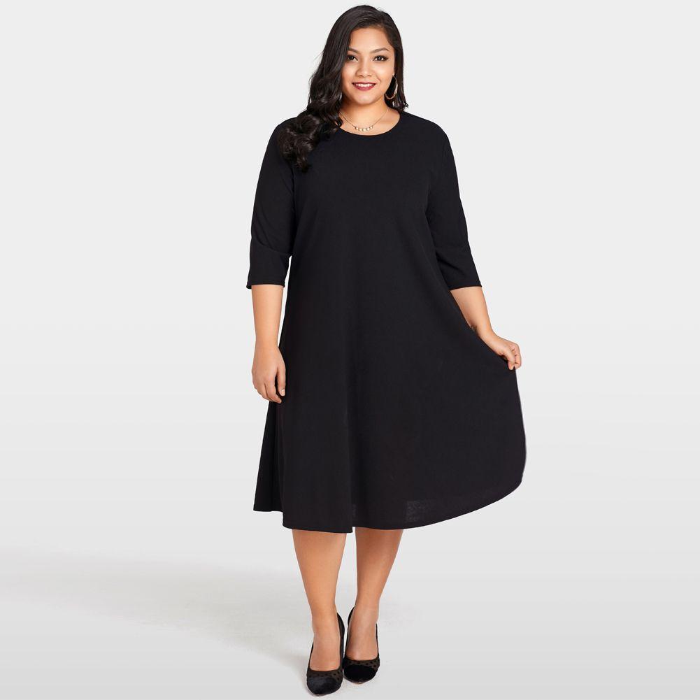 2018 Elegant Women Plus Size Dress O-Neck Vestidos Ladies Three ... 9baf8ad56b4b