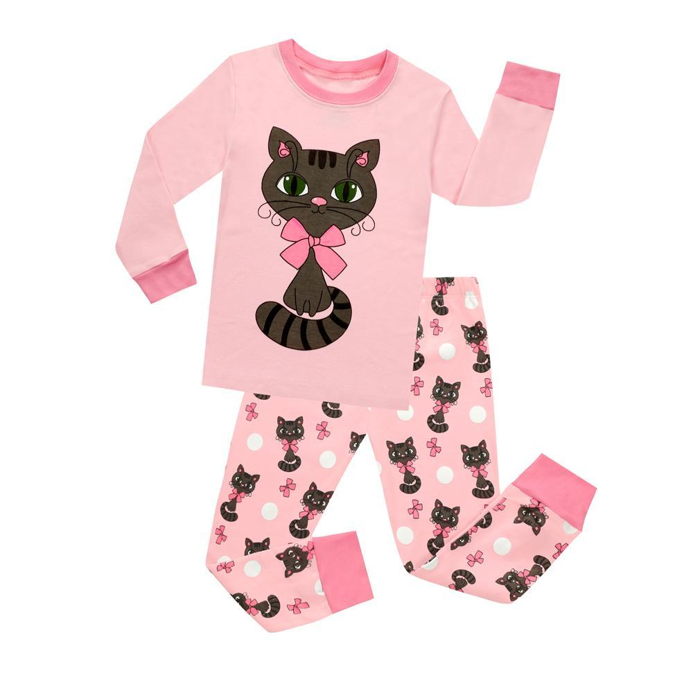 1b55ca20f572 2018 Matching Girls And Doll Pajamas Sets Kids Cat Cute Cotton ...