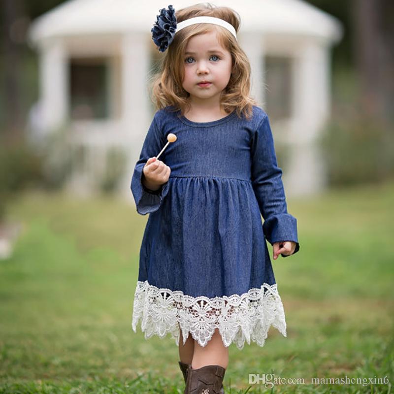 bcacb207f8c1 New Autumn Spring Girls Princess Denim Dress Children Clothing Lace ...