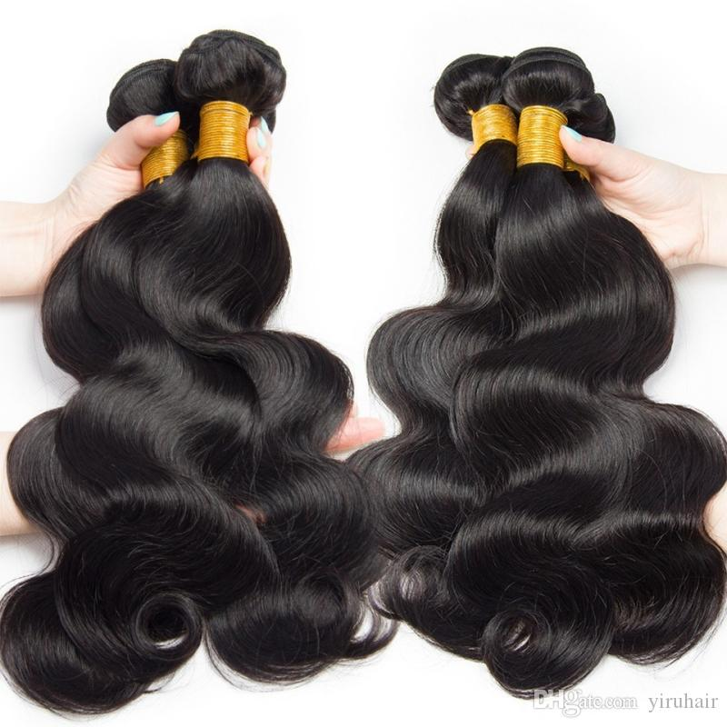 9A البرازيلي الإنسان الشعر ملحقات / الكثير الجملة 10 حزم جسم موجة 8-28inch اللون الطبيعي الحياكة شعر لحمة / الكثير