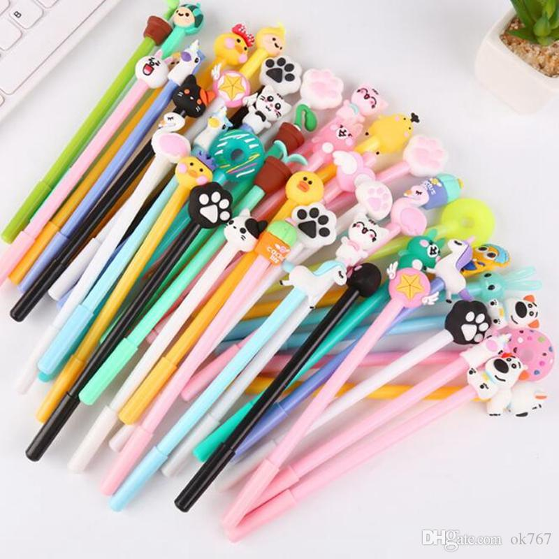 50 pieces Creative cartoon gel pens demon chick Bunny Flamingo emoji unicorn doughnut office school stationery