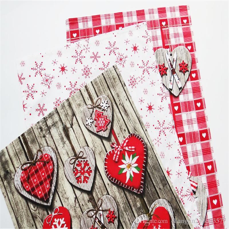 christmas product 40 x 60cmwedding cloth napkins placemats napkin restaurant cotton napkin cloth printed napkin cloth tea cloth online with 66piece - Christmas Napkins Cloth