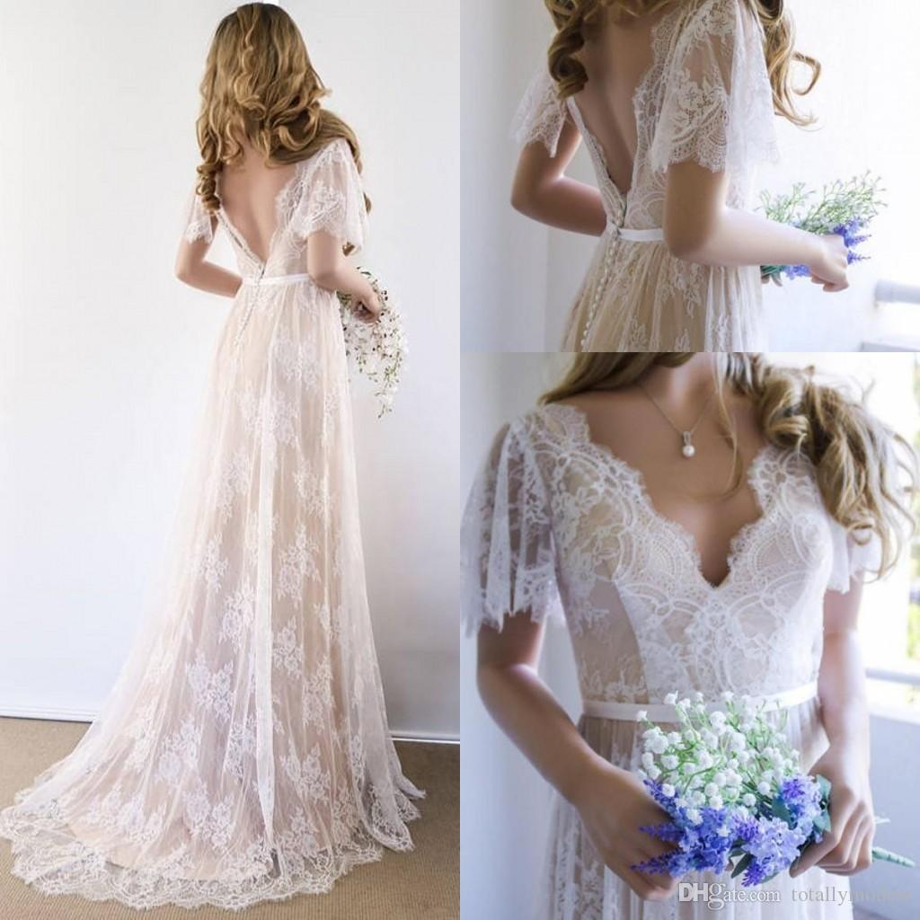 Discount 2018 Champagne Ivory Lace A Line Boho Wedding Dresses With
