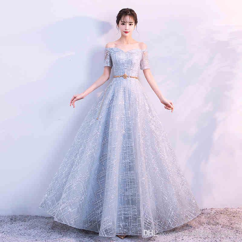 cb63ba7184b5 2018 Beautiful Blue Organza A Line Evening Dresses Custom Beads Sequins  Short Sleeves Prom Gowns Floor Length Crystals Party Gown Short Evening  Dresses For ...