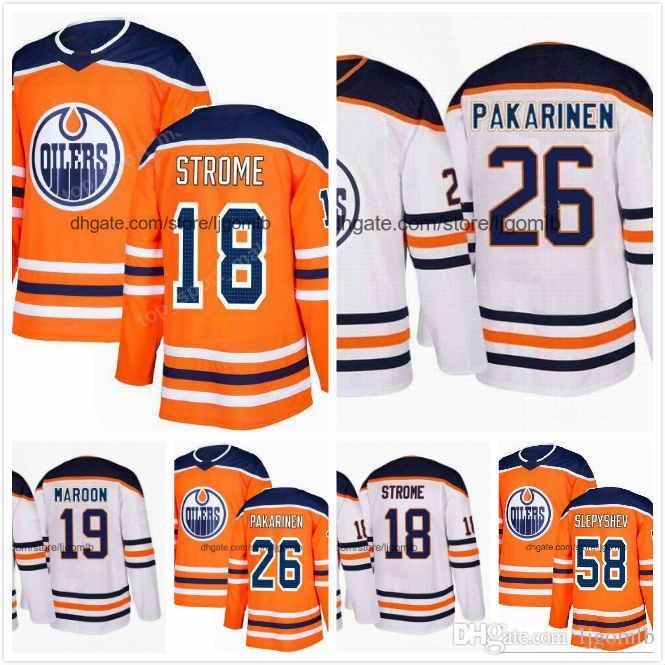 classic fit a974e c90c9 Patrick Maroon Jersey 19 Ryan Strome 18 Eric Gryba 62 Iiro Pakarinen 26  Anton Slepyshev 58 Mens Hockey Jerseys 2018AD Edmonton Oilers S-3XL