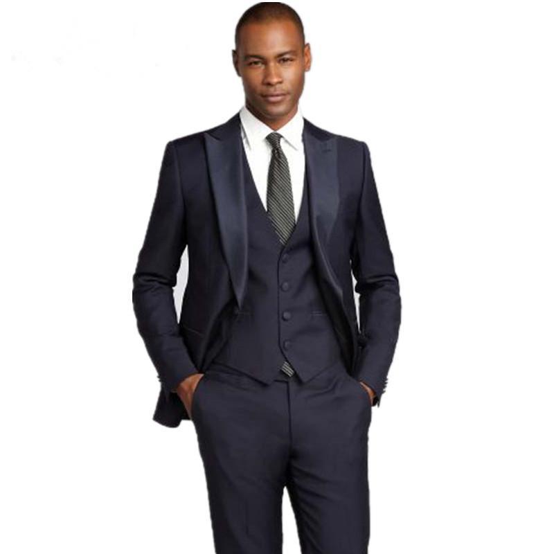 Compre Por Encargo Recién Llegado De Moda Slim Fit Novio Esmoquin Trajes De Boda  Negro Para Hombres Trajes De Hombres Baratos Jacket + Pants + Vest A ... 3a79a19483d