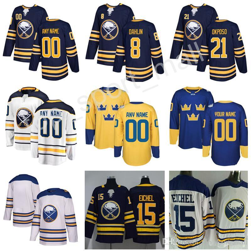 buy online 55554 67778 Buffalo Sabres Rasmus Dahlin Jersey 26 Winter Classic World Cup Team Sweden  2018 Hockey 21 Kyle Okposo Custom Name Number Navy White Stitch