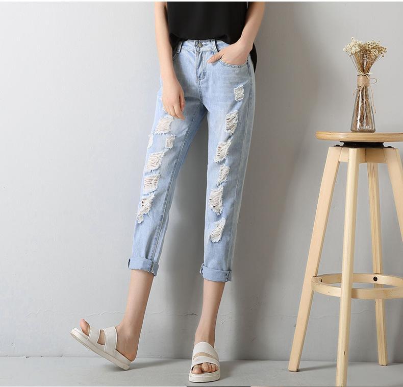 687b2c9349c3c Acheter New Fashion Style Plus Taille Trou Déchiré Jeans Femmes Pantalons  Lâche Cheville Longueur Pantalon Pour Femme Dames Skinny Jeans De $33.08 Du  ...