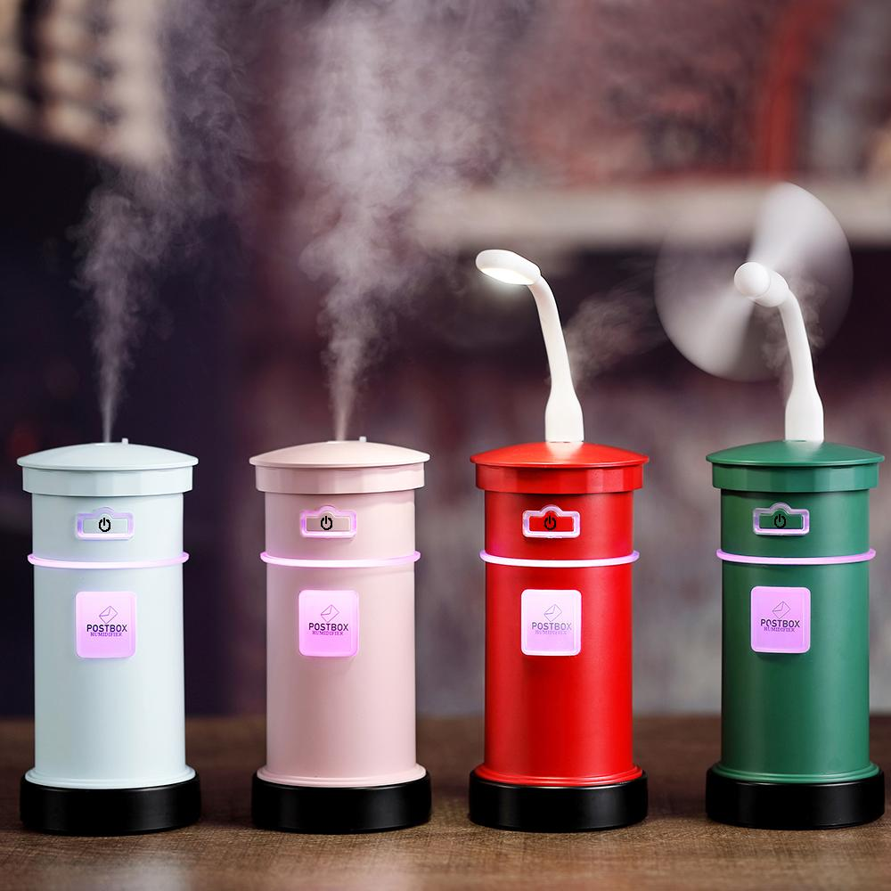 New Postbox Air Humidifier 200ML USB Diffuser 3 in 1 Multifunction Desktop  Humidifier With Fan Lamp Diffuser