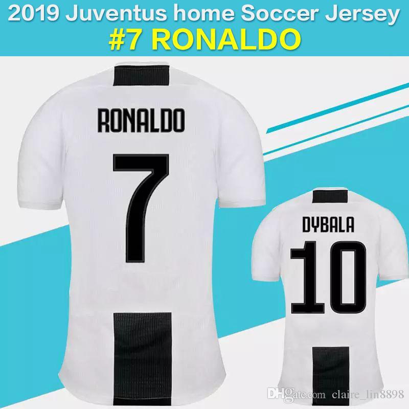 b254ae803 2019 Juventus Home Soccer Jersey 18 19 7 RONALDO DYBALA Soccer Shirt ...