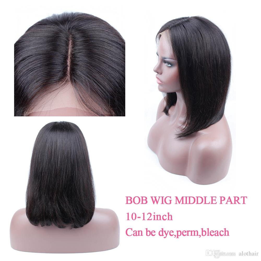 Short Bob Lace Front Wigs Middle Part 10 12 Inch Straight Brazilian Remy  Hair Wigs For Black Women Brazilian Virgin Human Hair Extensions Milky Way  Hair 100 ... 1ac15093eb