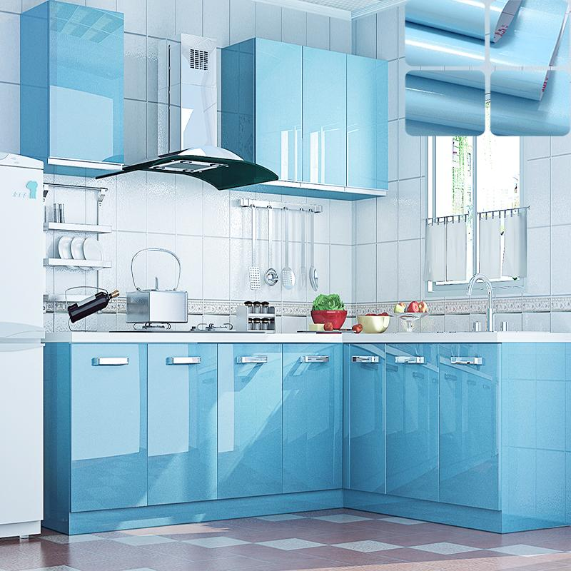 Modern Kitchen Cupboard Diy Pearl Sky Blue Wallpaper Roll Vinyl ...