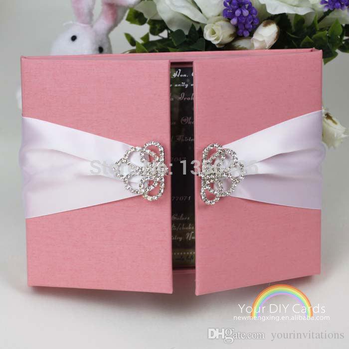 Luxury Blush Pink Silk Satin Box Wedding Invitation With Ribbon And