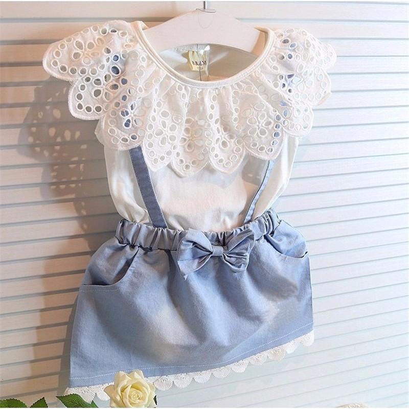 Baby Girls Dresses 2016 New girls cute dress,white belt denim dress sleeveless cotton summer dress lovely girls clothes
