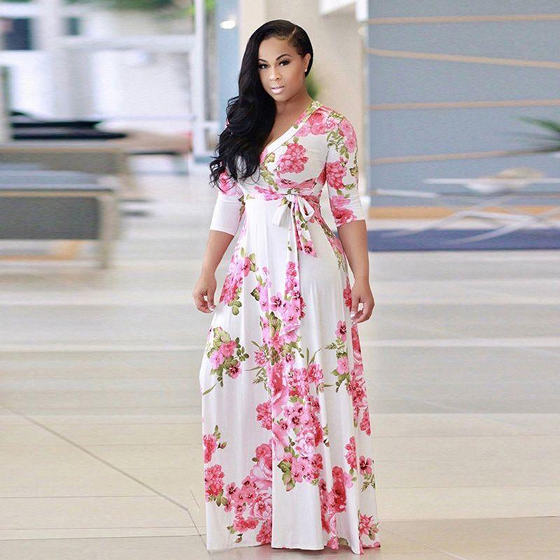 9be4e1cea2046 2018 Boho Beach Long Maxi Sexy V Neck Women Robe Dress Half Sleeve Floral  Print Dress Female Loose Sexy Vestidos Plus Size 5XL