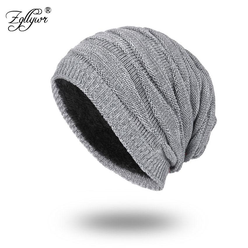 0a52c8f9608 Zgllywr Winter Beanies Solid Color Hat Unisex Plain Warm Soft Skull ...