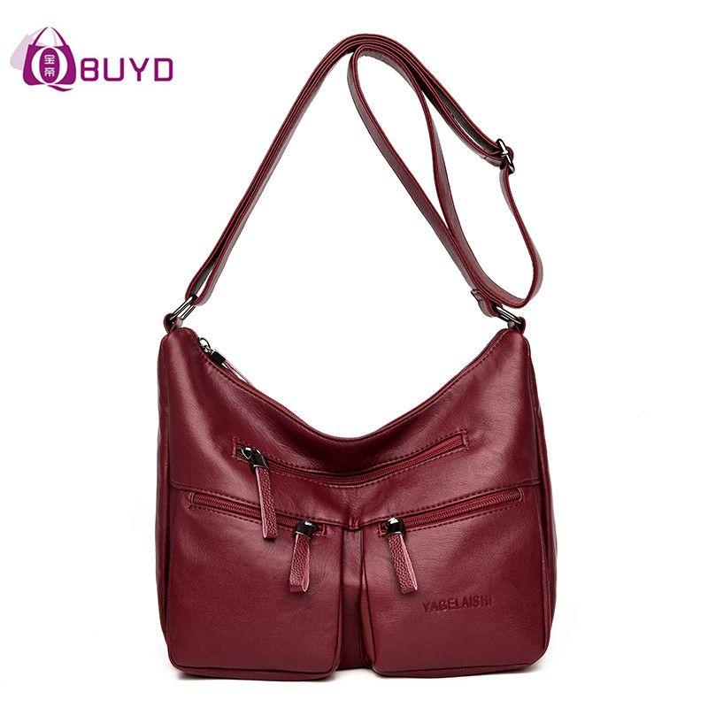 Women Soft Leather Handbags Casual Female Shoulder Bags Ladies Shoulder Bag  Multi Pocket Design Hobos Women S Messenger Bags Sac Black Handbags Weekend  Bags ... f80b2b0a50c00