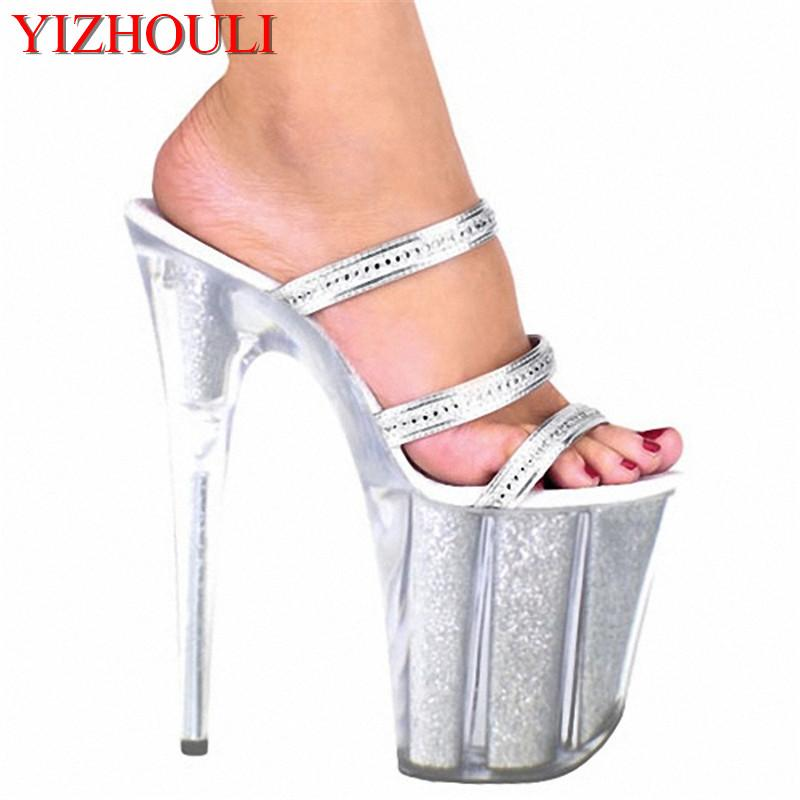 de0a2f5ba98 Ultra 20CM Crystal Platform Shoes High Heel Sandals Silver Glitter Model  Shoes Fashion 8 Inch Platforms Slipper Knee High Boots Womens Shoes From ...