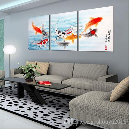 Koi Fish Wall Art Chinese Painting Wall Art On Canvas Home Decor ...
