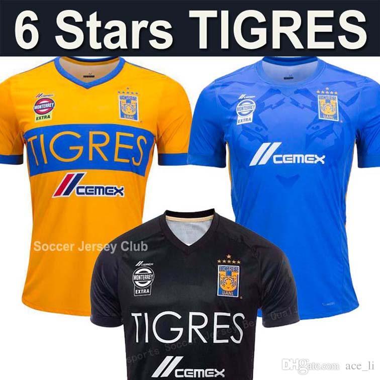 186e877cc17 2019 6 Star Tigres UANL Soccer Jersey GIGNAC VARGAS GUERRON 17 18 Mexico  Club Tigres UANL DAMIAN SOSA H.AYALA Top Thailand Quality Football Shirt  From ...