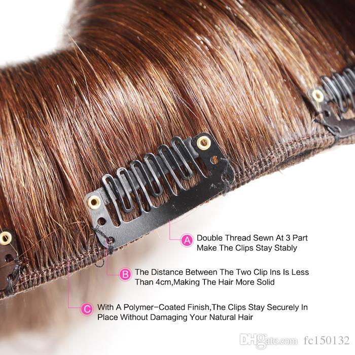 10inch-24inch آلة صنع البرازيلي ريمي مستقيم كليب في مقطع الشعر البشري في ملحقات 9 قطعة / المجموعة 100 جرام 2 أحلك البني