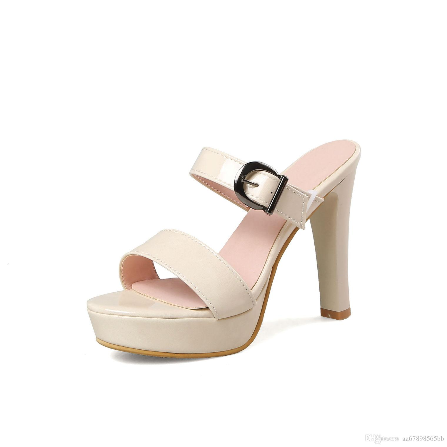 e2dedf55e17 Women Summer Slippers Fashion Sexy Super Square High Heels Open Toe Party Shoes  Woman Platform Sandals Sandals Women Shoes Online with  30.11 Pair on ...