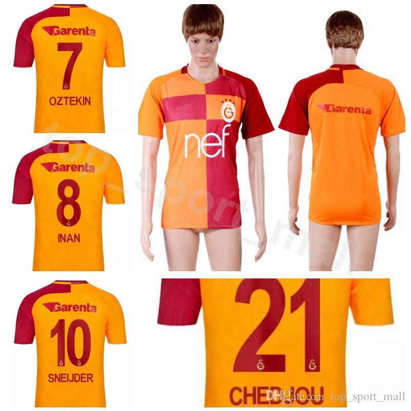 uk availability d8e88 33dd1 18/19 Season FC Soccer Galatasaray Jersey Men GOMIS INAN CIGERCI MAICON  OZTEKIN SNEIJDE FERNANDO FEGHOULI Football Shirt Kits Home Orange