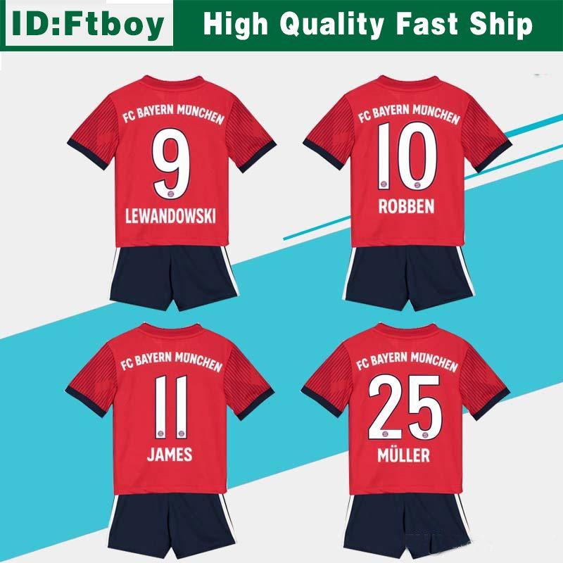 b1c3814fa 2018 Bayern Soccer Jersey Kids Kit 18 19 Fc Bayern Munich Home Red Soccer  Jerseys  25 Muller  11 James Child Soccer Shirts Uniform Jersey+Shorts From  Ftboy