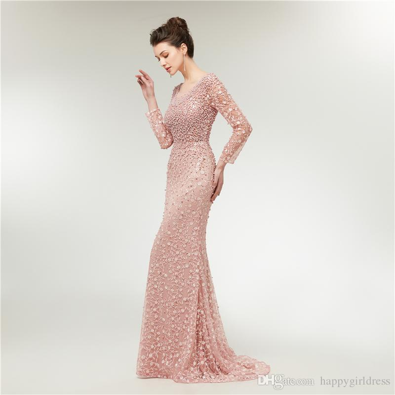 f03e3e63a01e Luxury Evening Dresses 2019 Mermaid Long Sleeves Pearls Lace Embroidery Pink  Women Prom Dress Formal Party Gown Affordable Prom Dresses Under 100 Buy  Prom ...
