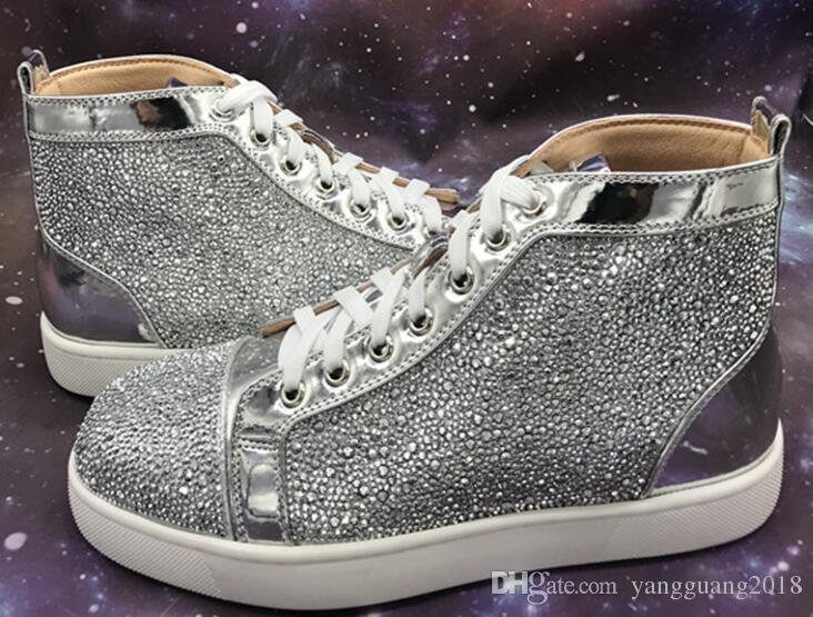 Discount Online Men Women Rhinestone High Top Shoes Famous Designer Brand  Red Bottom Sneakers Mens Loubbis Shoes With Box And Dustbag Cool Shoes Naot  Shoes ... 62e79ee1d7