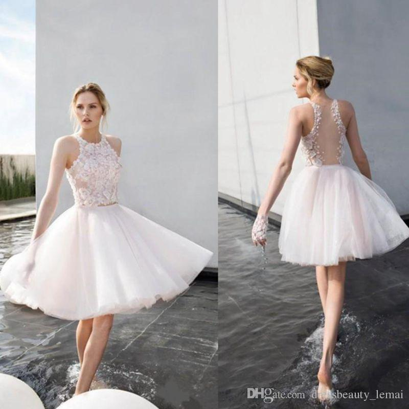 d2054bc7643 New White Ivory Appliqued Lace Tulle Short Homecoming Dresses Halter Neck  Sheer Back Knee Length Junior Graduation Party Dresses Sale Homecoming  Dresses ...