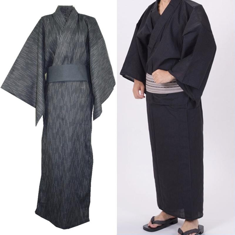 321414585a 2019 Men Japanese Style Kimono Yukata Bathrobe Pajamas Cotton Robe Clothing  Long Summer From Pamele