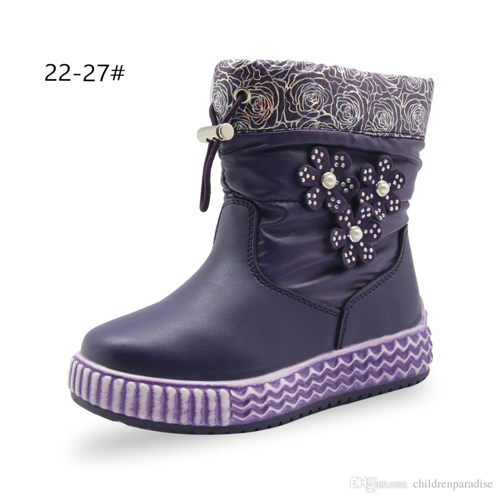 aa399fa712609 Apakowa Children S Winter Soft Warm Shoes For Toddler Girls With Pearl  Flower Baby Girl Princess Waterproof Mid Calf Snow Boots Raining Boots For  Kids Girls ...