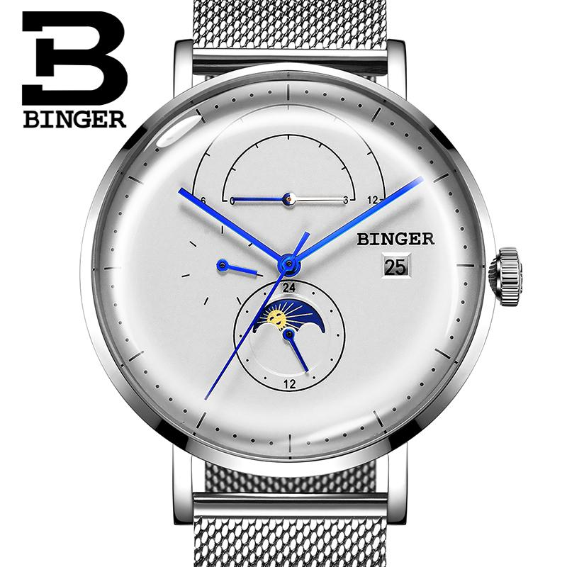 6bc3d35ac67b Compre BINGER Relojes Para Hombre De Primeras Marcas De Lujo Reloj Mecánico  Automático Hombres Multifunción Calendario Fase Lunar 24 Horas Relojes De  Zafiro ...