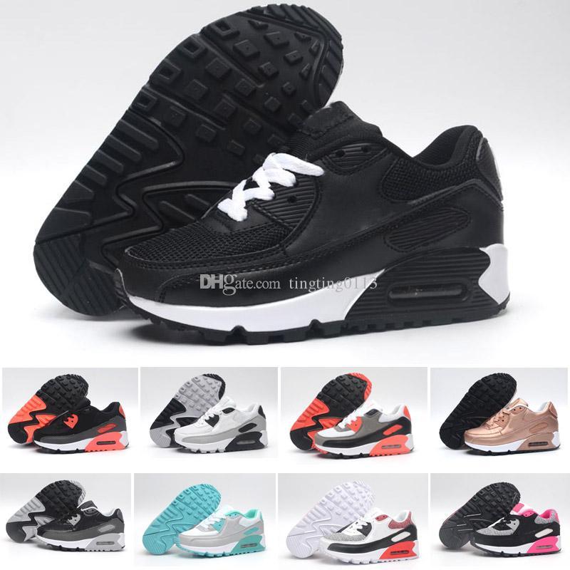 the latest d988d 2102a Acheter 2018 Nike Air Max 90 Enfants Mode Respirant Classique 90 Chaussures  En Cuir Avec 8 Couleurs Enfants Bonne Qualité Chaussures Pour Garçons  Designer ...