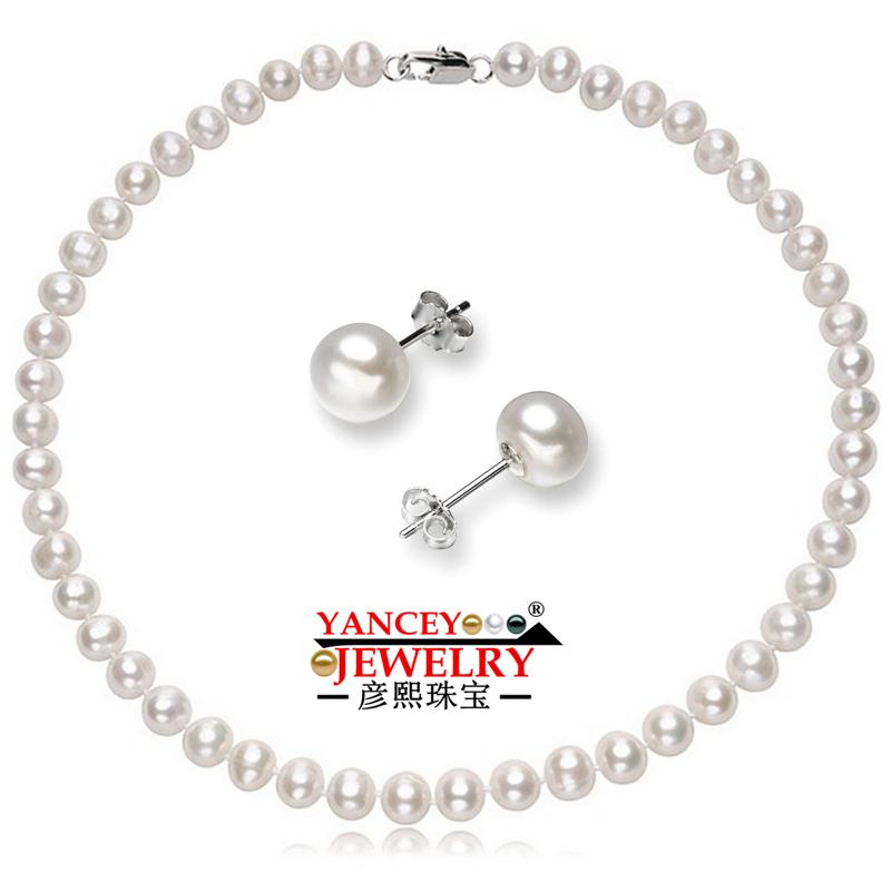 YANCEY 7 8mm White Natural Freshwater Pearl Sets For Women s 925 Sterling  Silver Earrings Wedding Set Pearl Jewelry UK 2019 From Buafy f7c8382ad